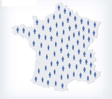 Vector people map of France. The concept of population. Can be used for presentations, advertising, infographics and the visualization of the statistics.